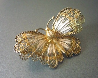 Vintage Silver Gold Filigree Butterfly Brooch