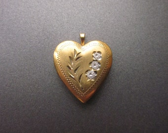 Vintage 14k GF Etched Heart Locket