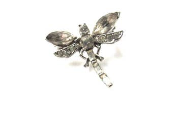 Pave Rhinestone Dragonfly Pin Brooch Insect Vintage