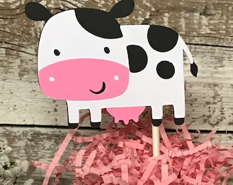 Cow Cupcake Toppers - Set of 12 Cow Toppers - Cow Birthday Party Decoration - Western Farm birthday - Cowgirl, Cowboy  birthday