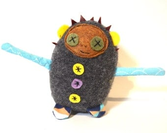 Mini Dolores the Librarian stuffed doll in grey wool