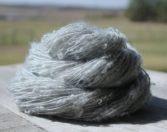 Handspun Kid Mohair Boucle - Blue Heron Silver Kid Mohair yarn