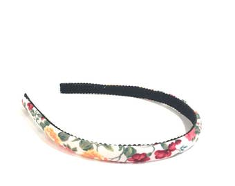 Romantic Floral Headband in Rose Red, Pink, Green, Yellow, Orange and White   - Choose width from Skinny to Wide - Girls & Adult Headbands