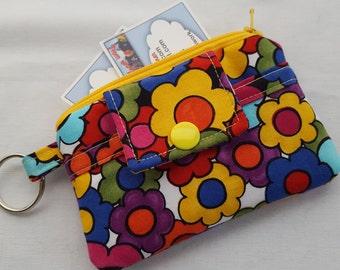 Zipper Mini Wallet Pouch Key Chain Card holder - Spring Daisies