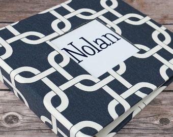 Baby Book, Baby Gift, Baby Album, Baby Memory Book, Baby Keepsake, Modern Baby Book, Navy Chain Links