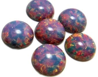 Fire Opal Cabochon 6 pc 15 mm  Pink Vintage Glass Stones S-98-R