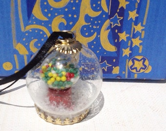 Handmade miniature Christmas dome pendant necklace with gumball machine and snow.  Christmas ornament.