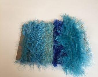 ice yarns samples fiber art bundle cards BLUE SHADES eyelash fun fur super soft navy turquoise polar cloud knitting  scrap booking supplies