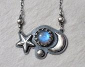 SALE Rainbow Moonstone and SterlingSilver Necklace with Blue Flash Star and Moon