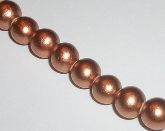 Wood beads, 8mm round waxed dyed wooden beads for jewelry making -- Copper 1 strand 50  beads