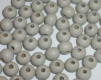 Wood beads, 8mm round dyed wooden beads for jewelry making -- Very Light grey  100 loose beads