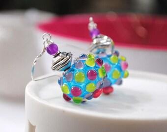 Blue Glass Earrings, Dotted Earrings, Light Weight Hollow Earrings, Polka Dot Earrings, Colorful Earrings, Funky Modern Earrings