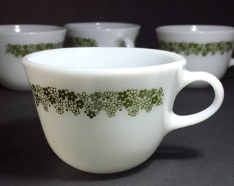 Vintage Pyrex Spring Blossom Green Flat Cups Set of 4 / 1970s Crazy Daisy Pyrex Flat Cups Set of 4 / Retro Kitchen Wedding Gift