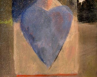 Forgotten How To Be Blue, heart, star, love story, original painting by Pami Ciliax-Guthrie