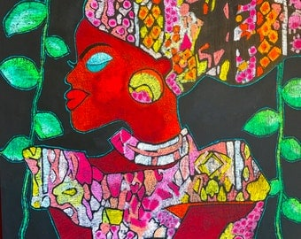 African Beauty - ooak - 50 x 40cms - She's a modern women who hasn't forgotten her traditions