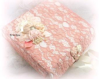 Keepsake Box, Ivory, Blush, Rose, Coral, Lace Keepsake Box, Elegant Wedding, Baby Keepsake Box,Memory Box, Bridal Shower Gift, Vintage Style