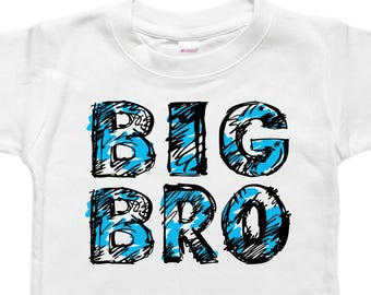 Big Brother Shirt - Little Brother Bodysuit - Sibling Shirt - Blue Graphic Letters Big Bro