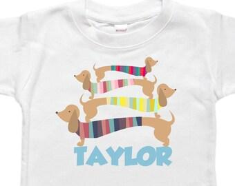 Personalized Baby Bodysuit - Toddler Shirt Tshirt - Baby Shower Birthday Gift - Dachshund Dogs