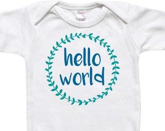 Baby Gift - Baby Bodysuit Shirt - Newborn Gift - Baby Shower Gift - Hello World Laurel Wreath