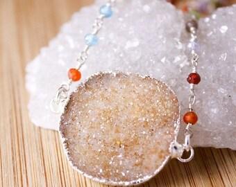 50 OFF SALE Peach Orange Druzy Necklace - on Multi-Colour CZ Chain - Long Druzy Necklace