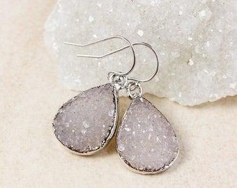 50% OFF Purple Agate Druzy Teardrop Earrings – Choose Your Druzy