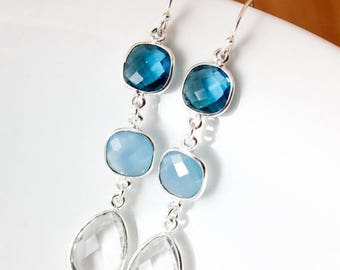 ON SALE Silver Blue Quartz, Chalcedony, and Crystal Earrings - Something Blue - Bridal Earrings