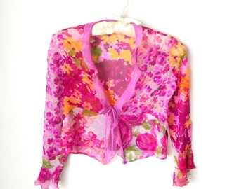 Silk - Girls - Size 8 - Jacket - Blouse - Sheer - Floral -  Rose - Pink - Green - Purple -  Girly -  Flower Girl - Wedding - Flower Girl -
