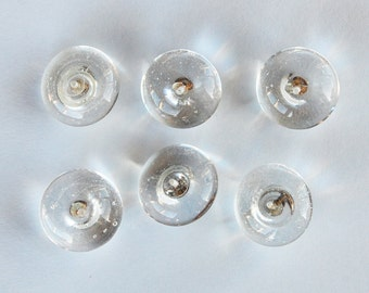 Vintage Clear Glass Buttons 6 Round Buttons • 18mm or 16mm