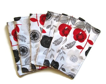 Cloth Napkins, Cotton, Set of 6, Red and Black, Dinner Napkins, Floral, Table Linens, Reversible Napkins, Washable, Reusable, Eco Friendly