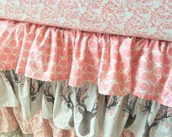 Girly Stag Crib Skirt, Deer Head Crib Skirt, Blush Crib Skirt, Blush Ruffled Crib Skirt, Coral Crib Skirt, Floral Ruffled Crib Skirt