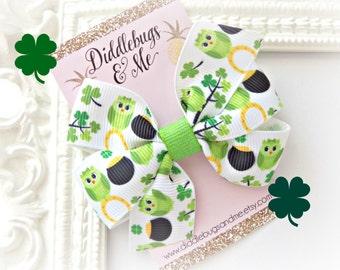 St Patrick's Day Hair Bow, Owl St Patty's Hair Bow, Toddler Hair Bows, Pot Of Gold Hair Bow,  Shamrock Hair Bow, Shamrock And Owls Bow
