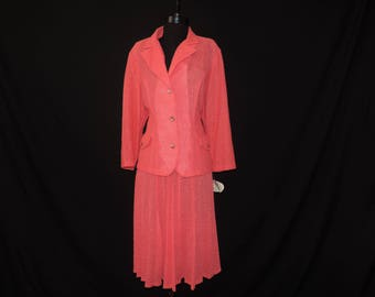melon skirt suit vintage popcorn textured career jacket pleated skirt plus size 2X new old stock