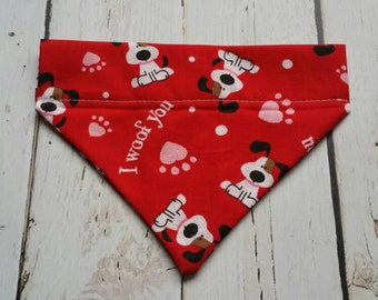 Dog Bandana,  Pet Scarf - Valentine Red Dog Scarf