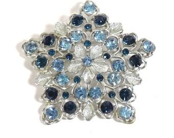 Large Coro Snowflake Brooch Vintage 1950s Oversize Blue Rhinestone Broach - FREE Domestic Shipping