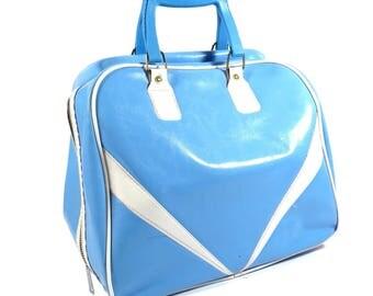 Baby Blue and White Stripe Bowling Bag Vintage 1970s 1980s Retro Rockabilly Bowling Ball Bag
