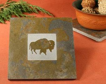 Slate Trivet / Hot Plate - Buffalo Sandcarved on Copper Slate