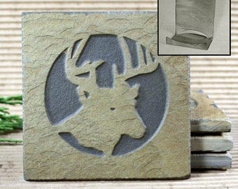 Etched Natural Stone Coaster Set with Holder - Deer Head on Buff Slate