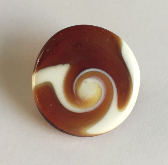 Lampwork Glass Button with Self Shank - Burnt Orange/White Swirls