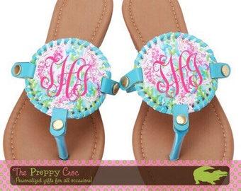 Monogrammed Medallion Sandals, Medallion Flip Flops, Monogrammed Sandals, Personalized Sandals, Lilly Insprired