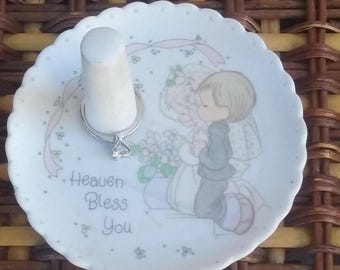 Vintage 90s Precious Moments Porcelain Ring Holder White Round Collectible