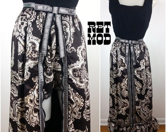 Awesome Vintage 70s Black & White Psychedelic Paisley Maxi Dress with Matching Hot Pants and Silver Greek Key Trim!