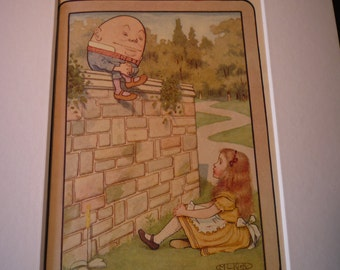 Alice and Humpty Dumpty Through the Looking Glass Lewis Carroll - M.L.Kirk - giclee color print framable Alice in Wonderland