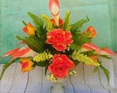 Mother's Day Calla Lilies, Roses, Yellow, Orange Two - Tone Silk  Floral Arrangement, Centerpiece