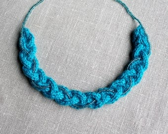 Blue Yarn Braid with Bead String Necklace