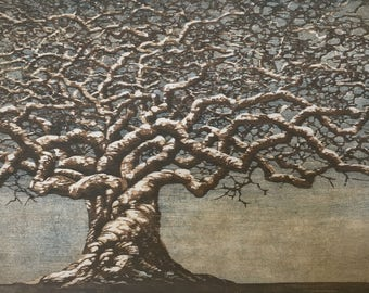 Woodblock Print - Tree No. 21, Award Winning Moku Hanga Fine Art Print Limited Edition OOAK
