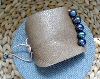 """pearl and leather cuff bracelet, 3"""" wide"""