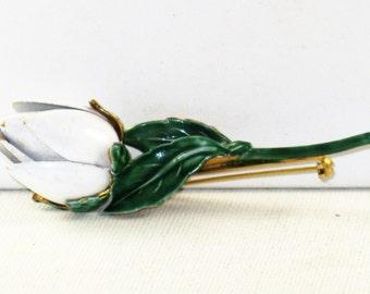Vintage Sandor White and Green Enameled Floral Tulip Brooch Pin (B-2-4)