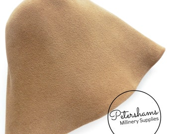 Peachbloom / Velour Finish Fur Felt Cone Hat Body for Millinery & Hat Making - Camel