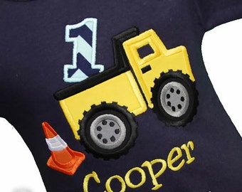 Dump Truck Birthday Shirt, 1st Birthday Construction Shirt or Bodysuit, Construction Party, Boy Birthday Shirt, Custom, First, Second, Third