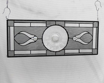 Stained Glass Window Transom, Depression Glass Panel w/ Vintage Colonial Knife & Fork Dish, Antique Stained Glass Plate Panel, Vintage Glass